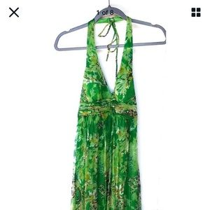 Sue Wong 100% Silk Dress Emerald Green Gold Halter